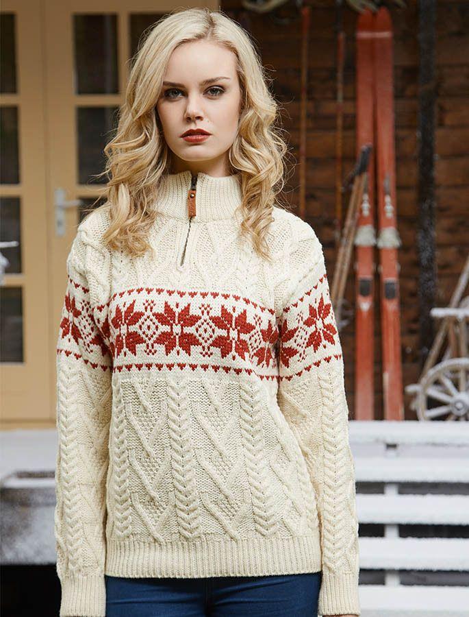 Women's Christmas Snowflake Zip-Neck Aran, Zip Neck Aran Sweater