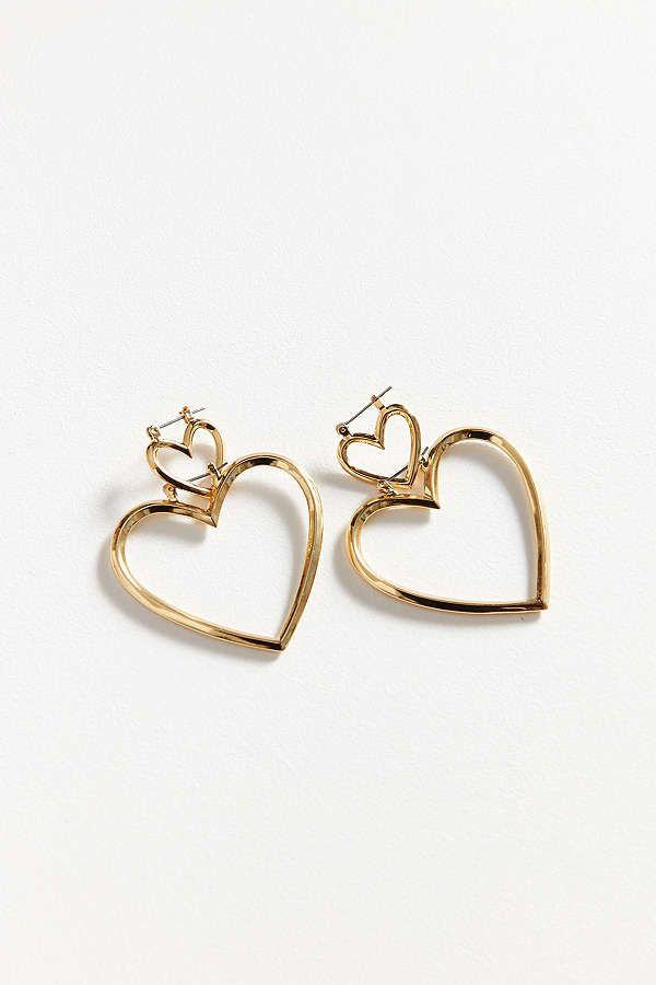 Luv AJ The Heart Hoops Set in Metallic Gold