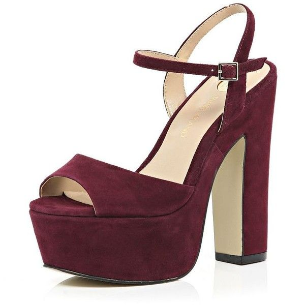 River Island Dark red suede platform heels ($110) ❤ liked on ...