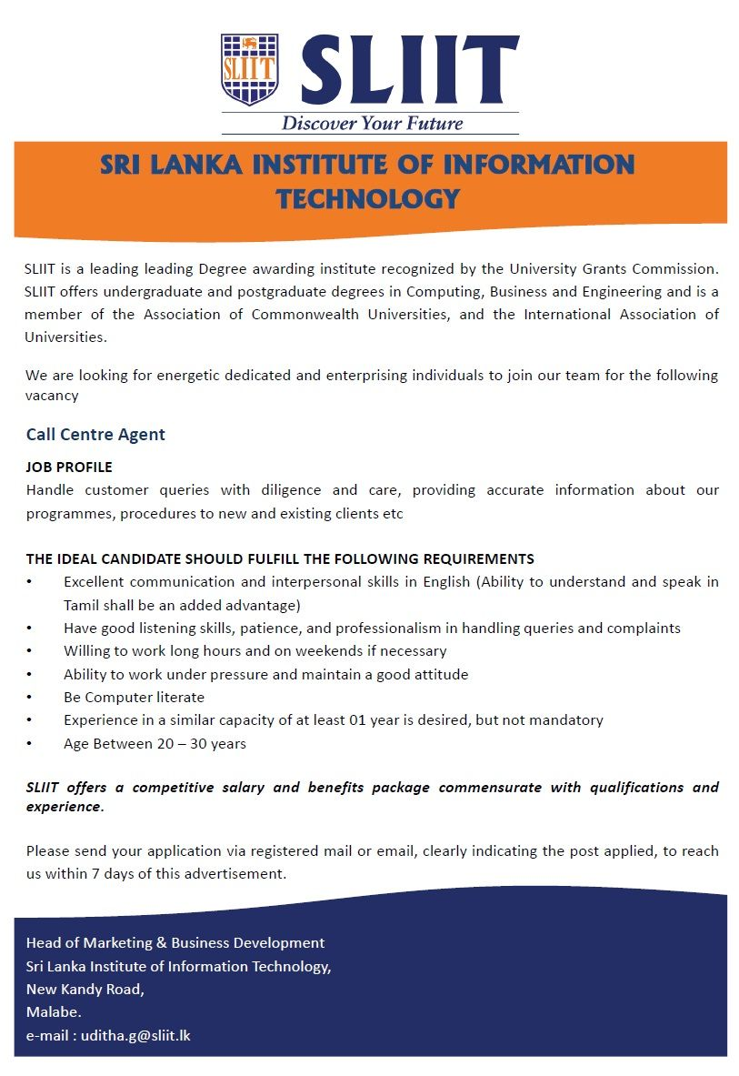 Call Centre Agent At Sri Lanka Institute Of Information Technology
