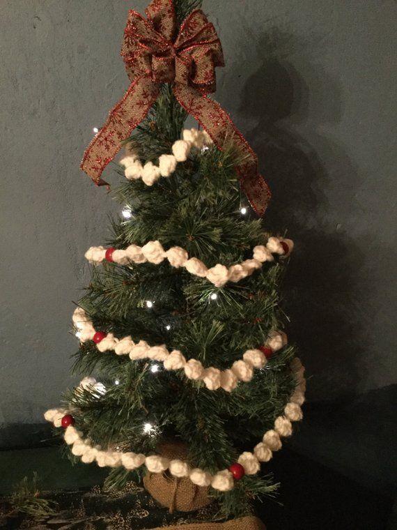 Crocheted Christmas Popcorn Garland Best Seller Etsy In 2020 Popcorn Garland Christmas Crochet Christmas Popcorn