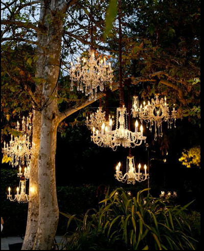 Imagine chandeliers like these lighting up your bride\'s outdoor ...