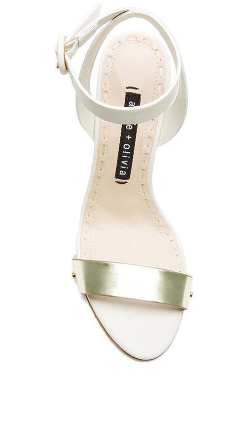 Shop for Alice + Olivia Cici Vachetta Heel in White & Pale Gold at REVOLVE. Free 2-3 day shipping and returns, 30 day price match guarantee.