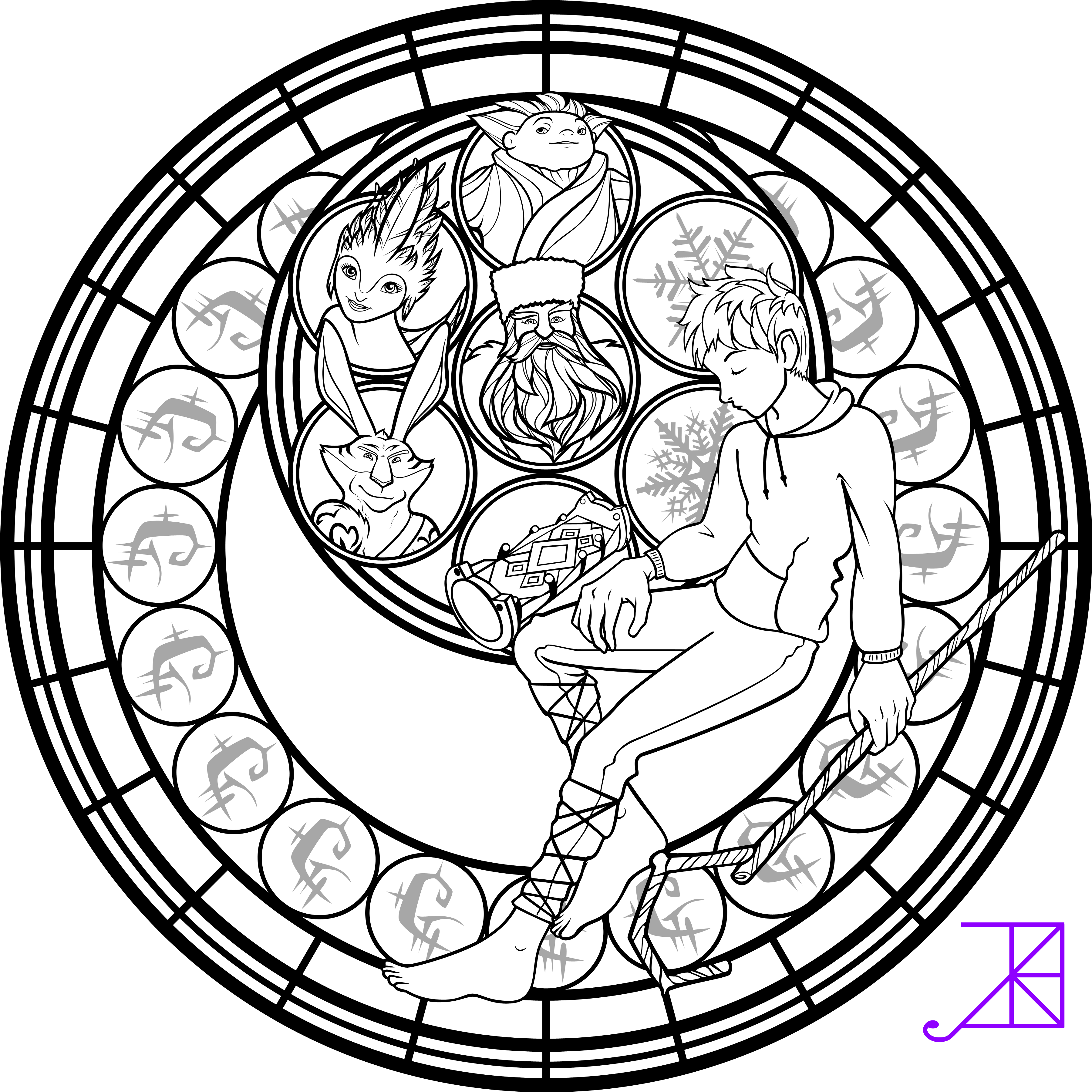 Jack Frost Stained Glass Coloring Page By Akili Amethyst D71ue0a