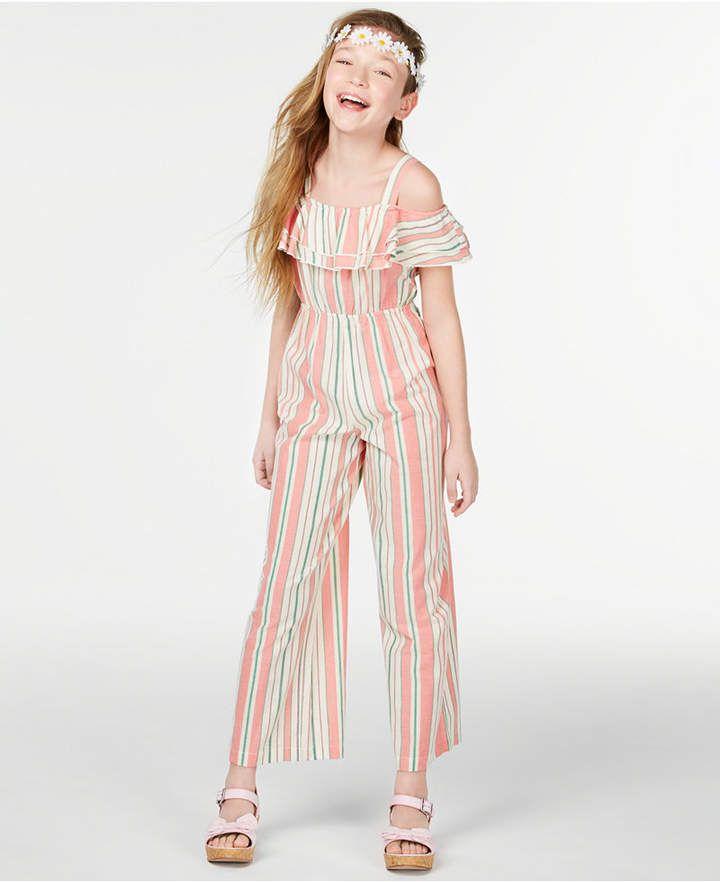 b83e3310be Big Girls Striped Ruffle Jumpsuit in 2019 | Products | Ruffle ...
