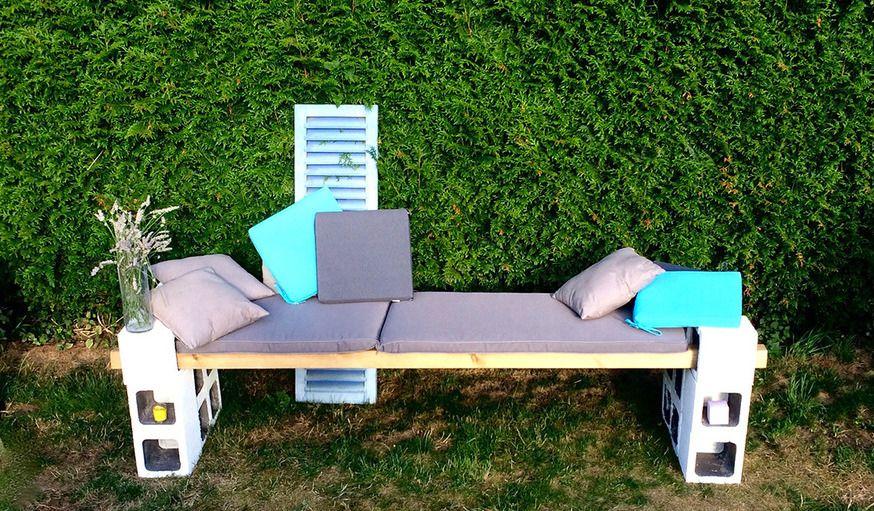 Banc de jardin fabriquer banc en bois et parpaings tutoriel r cup 39 upcycling - Banc de jardin en ciment ...