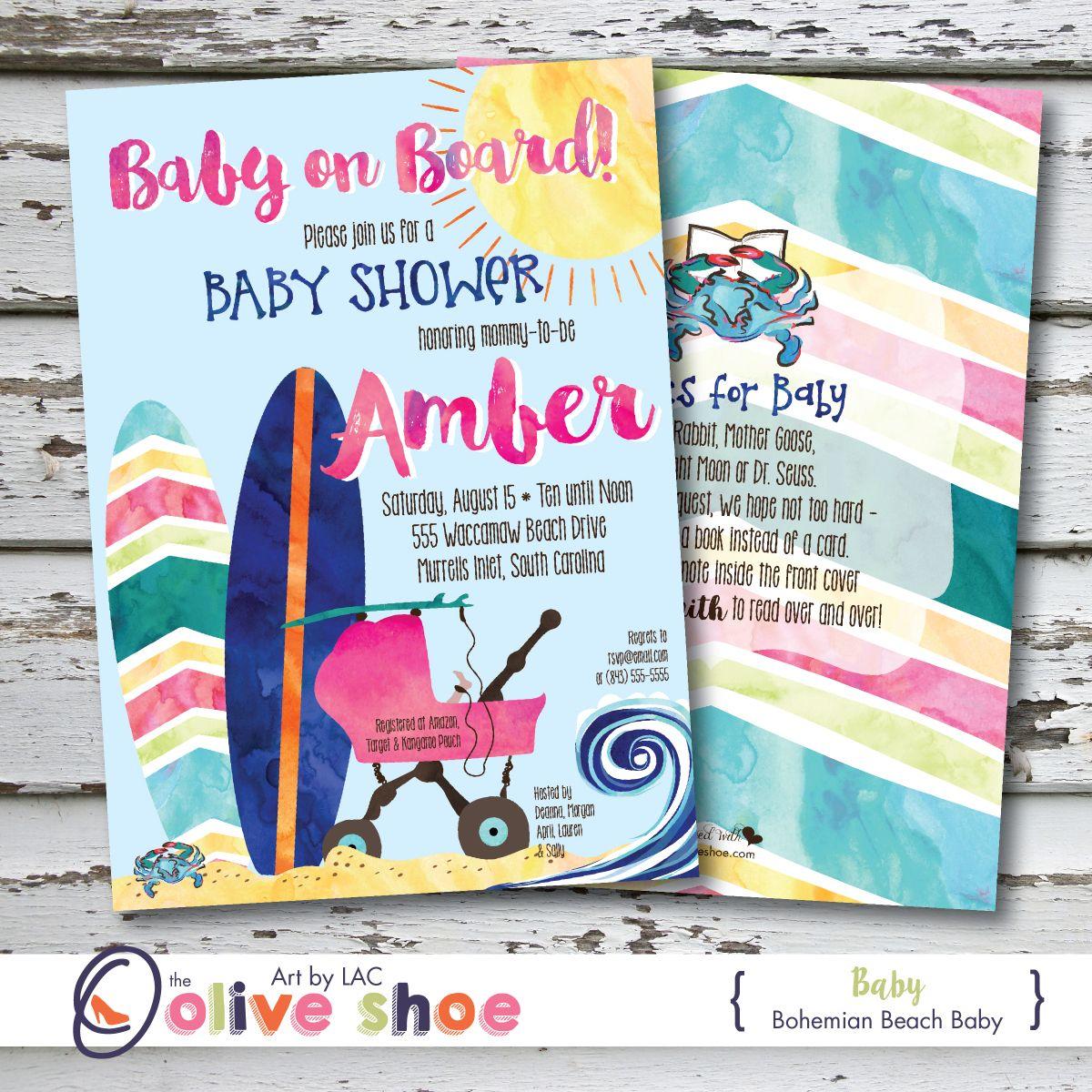 Surf Beach Baby Shower Invitations