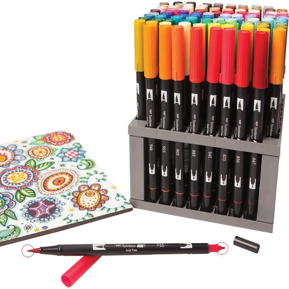 Tombow Dual Brush Marker Set 96 W Desk Stand Tombow Dual Brush