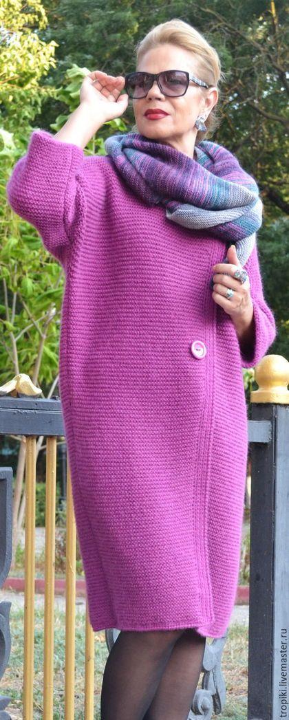 5f50d5f7420 Купить или заказать Вязаное пальто  Фуксия  авторское классическое в ...