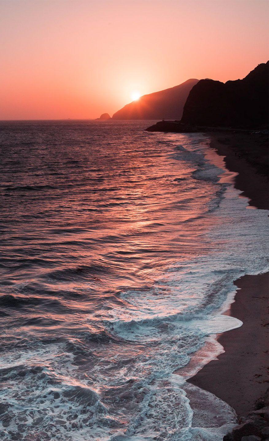 Peach Sky Sunset Beach IPhone Wallpaper