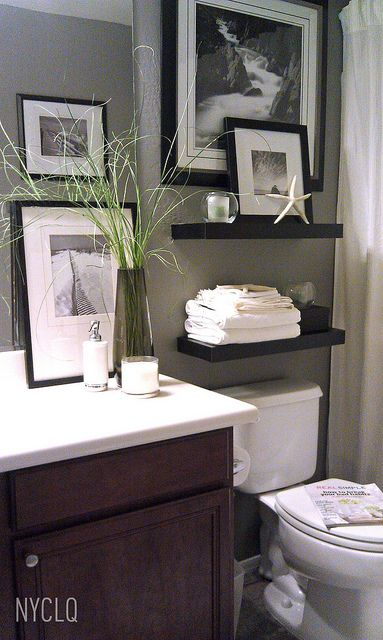 small bathroom makeover i like the floating shelves above toilet - Bathroom Decorating Ideas For Renters