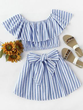 ¡Cómpralo ya!. Flounce Bardot Top And Bow Front Skirt Set. Skirt Blue Cotton Striped Boat Neck Cap Sleeve Bow Belt Sexy Vacation YES Fabric has no stretch Summer Two-piece Outfits. , tophombrosdescubiertos, sinhombros, offshoulders, offtheshoulder, coldshoulder, off-the-shouldertop, schulterfreiestop, tophombrosdescubiertos, topdosnu, topspallescoperte, hombrosdescubiertos. Top hombros descubiertos de mujer de SheIn. #summervacationstyle