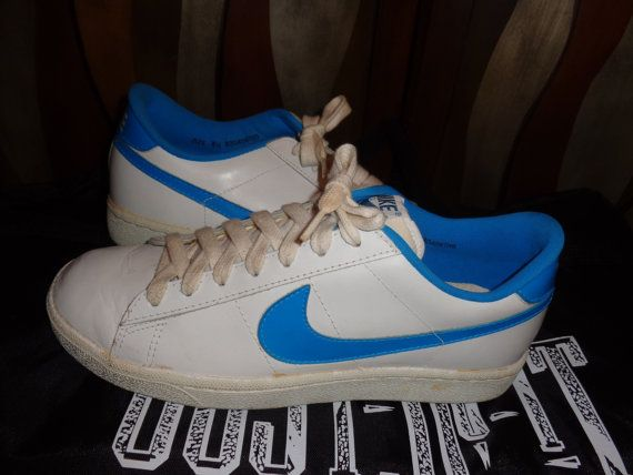 Sale Vintage Nike Leather White Blue Court Shoes By Simplemiles 95 00