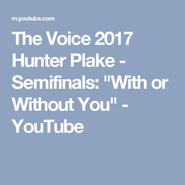The Voice 2017 Hunter Plake - Semifinals: