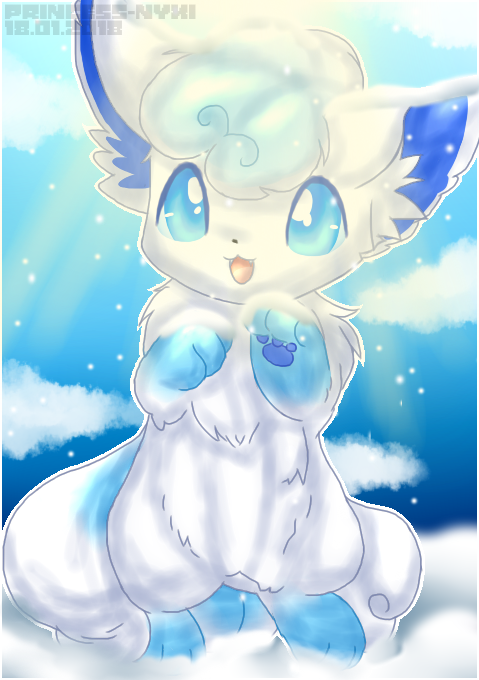 Pokemon art #3 Alolan Vulpix Shiny by Princess-Nyxi