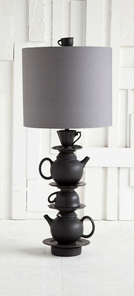 ceramic on vintage rare lamp listing il wooden base white teapot