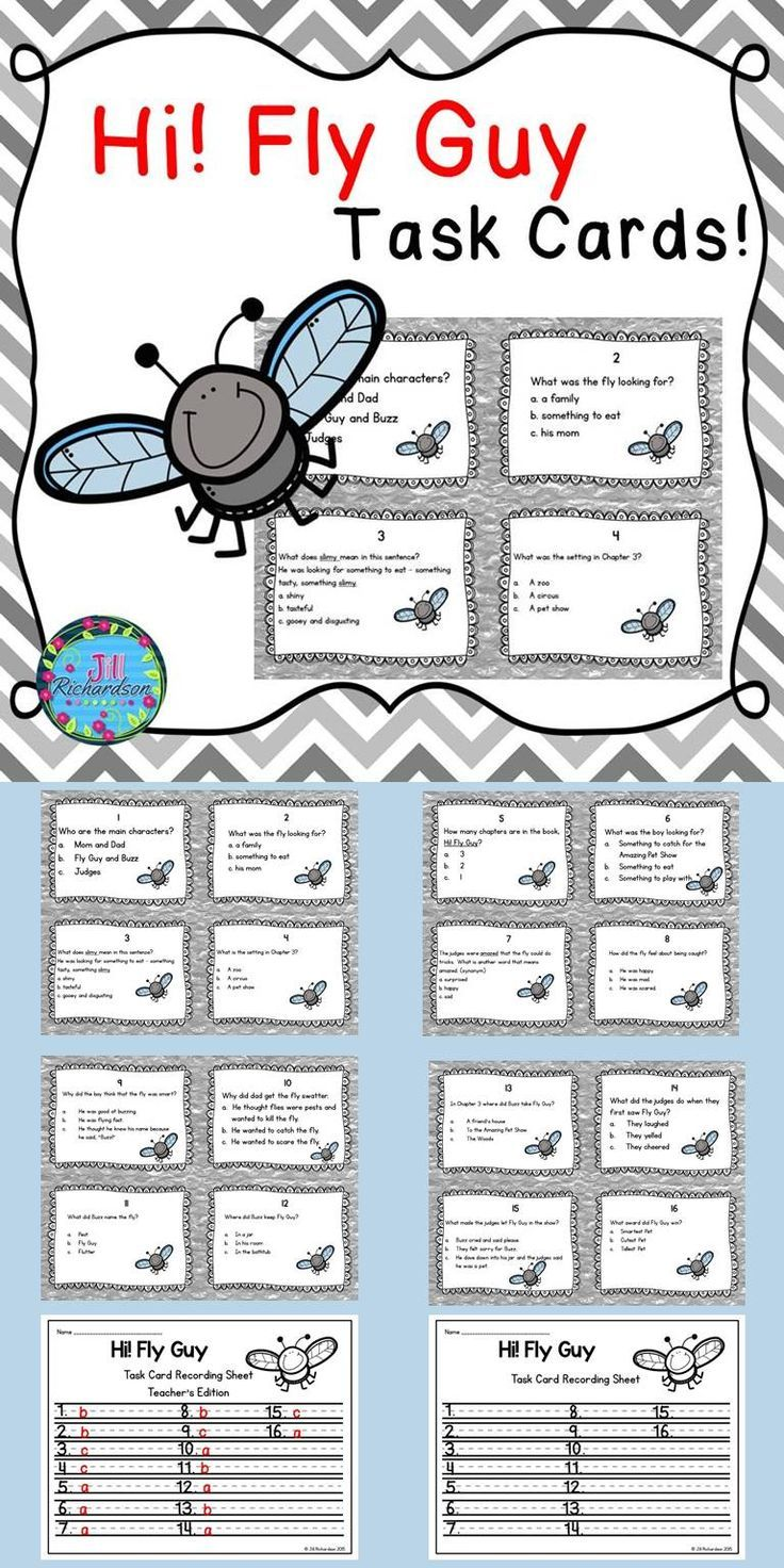 Hi! Fly Guy Task Cards! (Reading Comprehension) | Profesores ...
