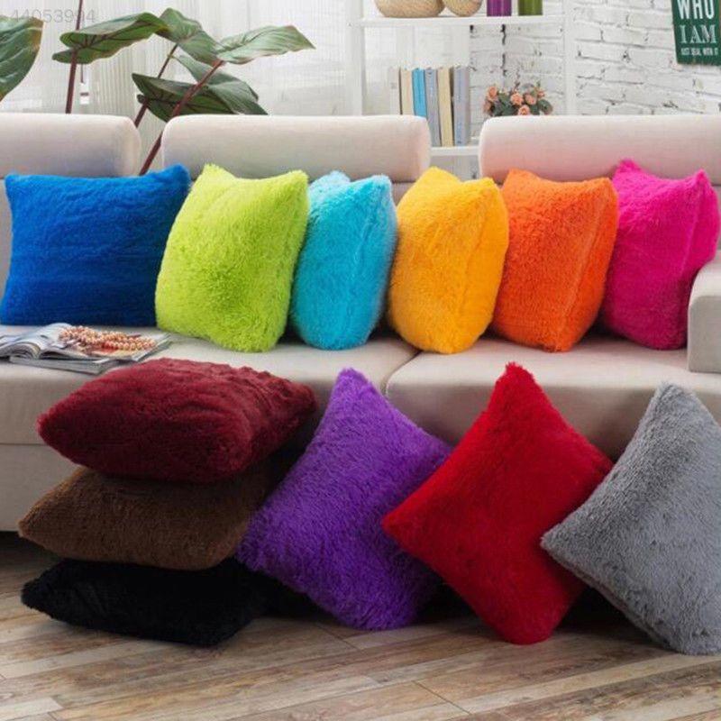 Fluffy soft Plush Square Pillow Case Sofa Waist Throw Cushion Cover Home Decor
