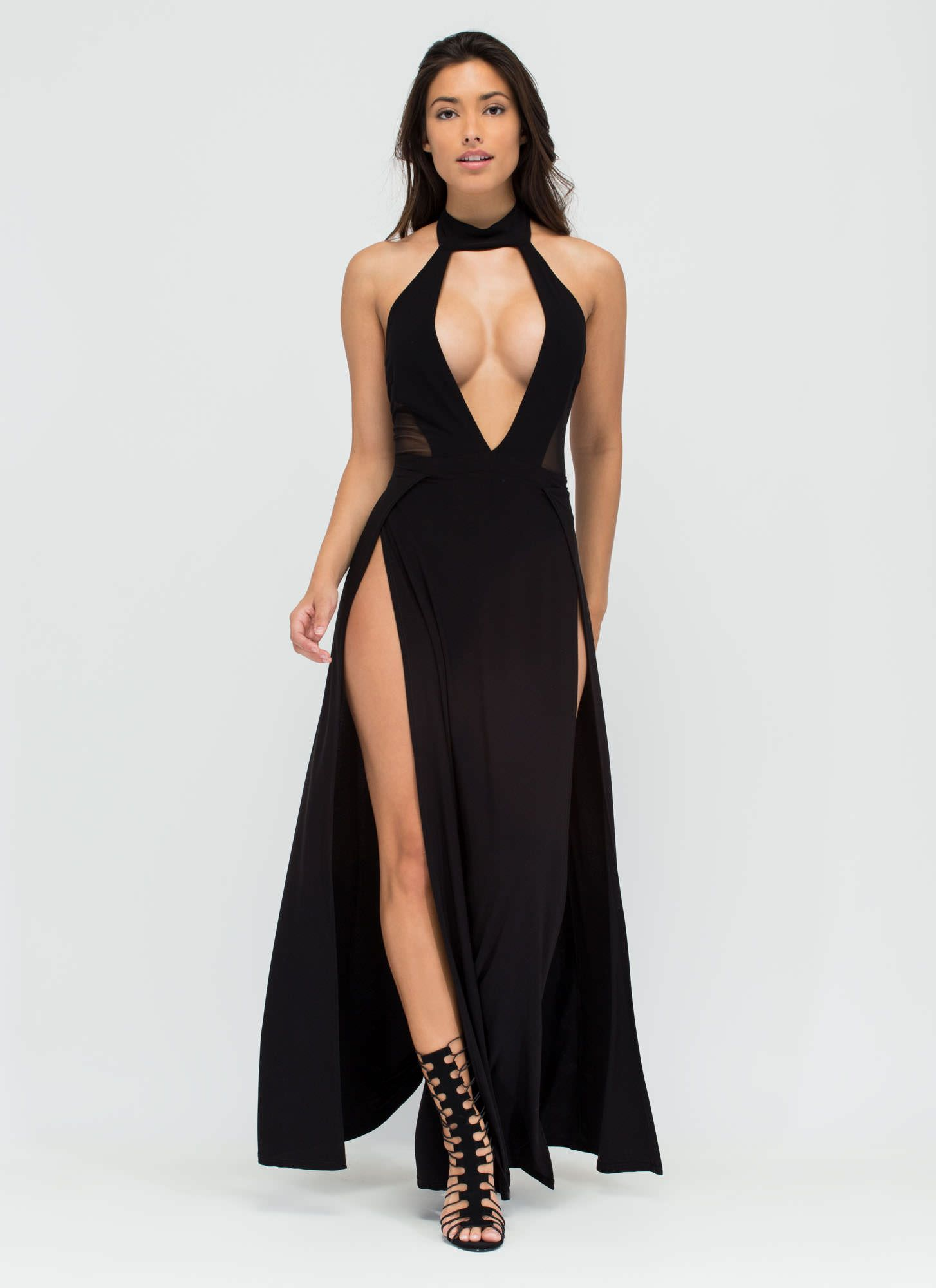 Legs for days doubleslit maxi dress black yellow gojane