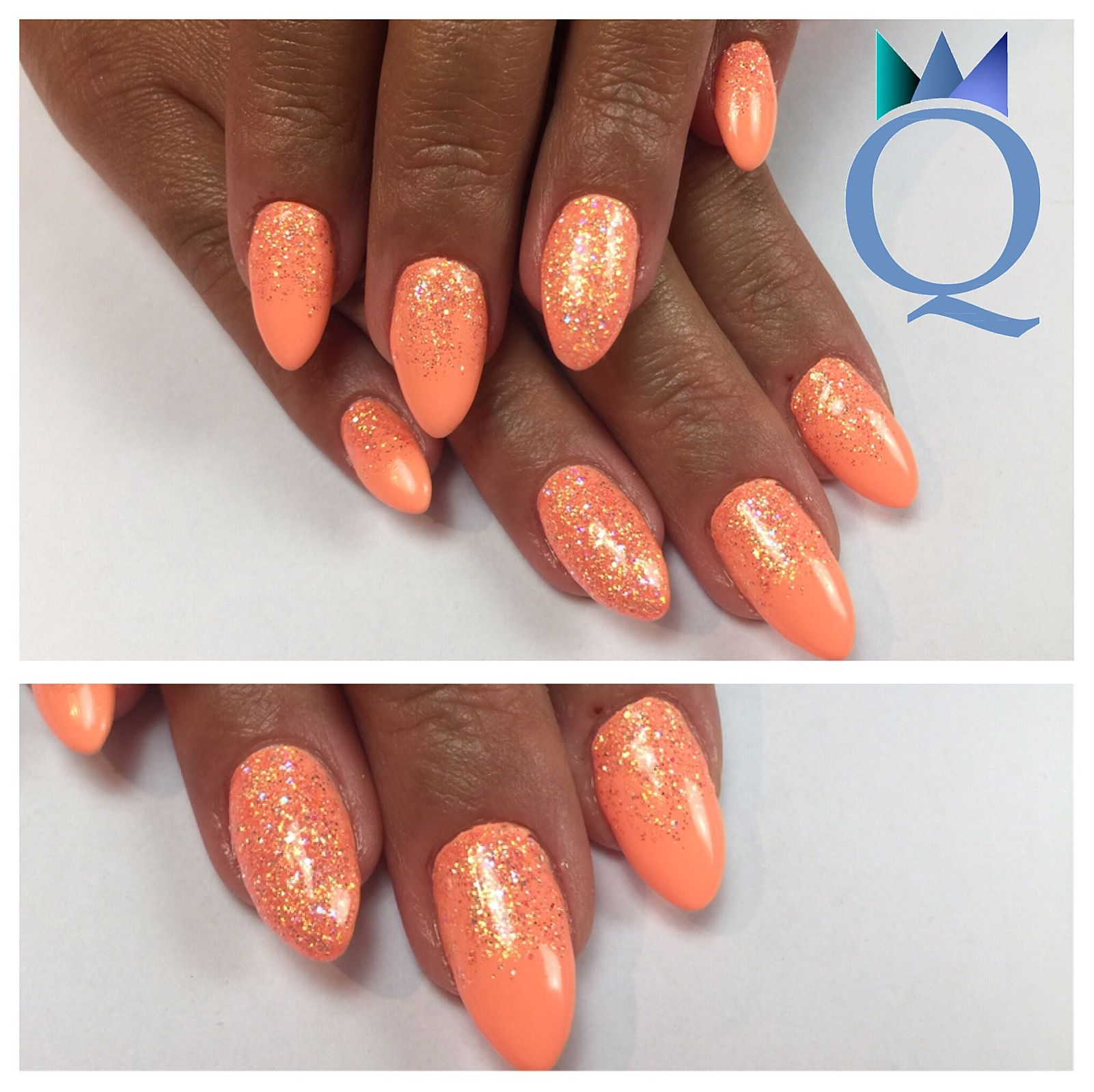 almondnails #gelnails #nails #neonpeach #glitter #mandelform ...