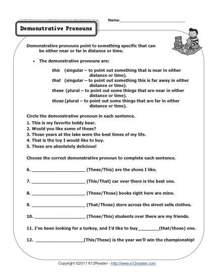 Demonstrative Pronouns With Images Pronoun Worksheets Demonstrative Pronouns Pronoun