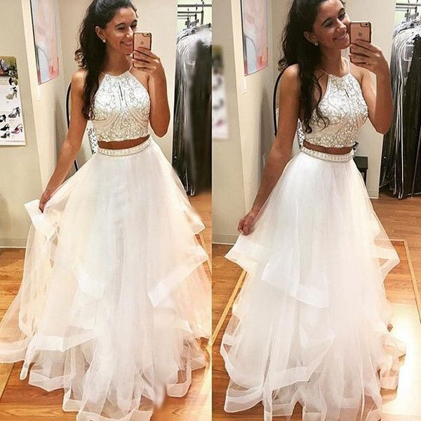 white two pieces sequin tulle long prom dress, white evening dress ...