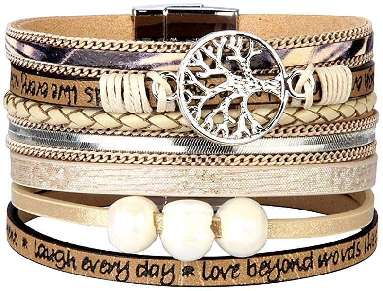fc9131580cb Jenia Tree of Life Womens Leather Wrap Bracelet Personality Engraved Braided  Cuff Bangle with Pearl Handmade Boho Jewelry for Kids Men Teens Girls  Birthday ...