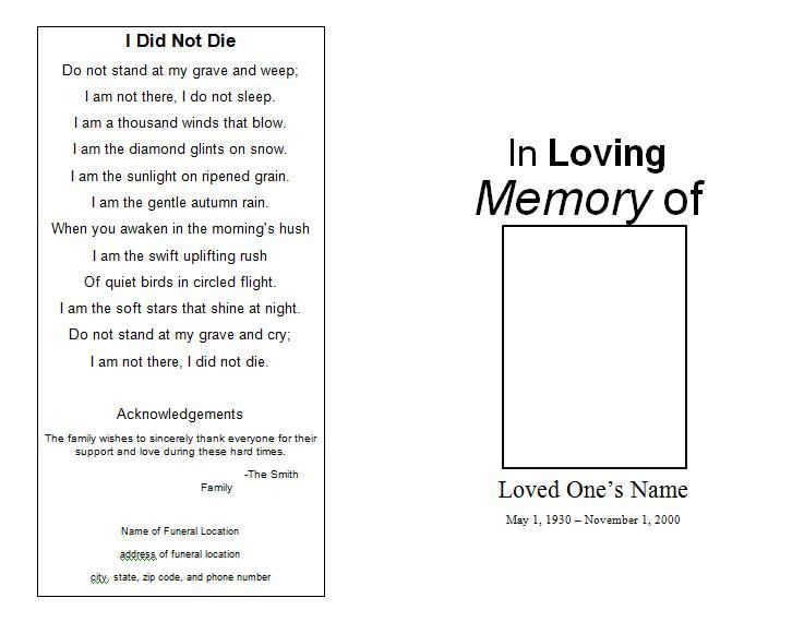 Memorial Service Programs Sample  Below Is A Funeral Memorial