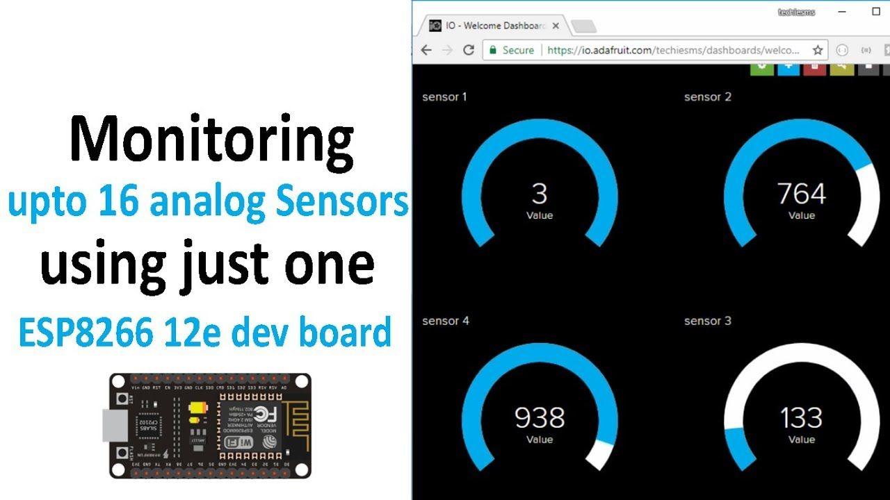 English]Monitoring upto 16 analog Sensors using NodeMCU (ESP8266 12e