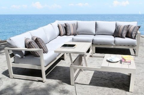cast aluminum patio furniture wynn outdoor sectional with a modern teak design cabana coast - Modern Aluminum Patio Furniture