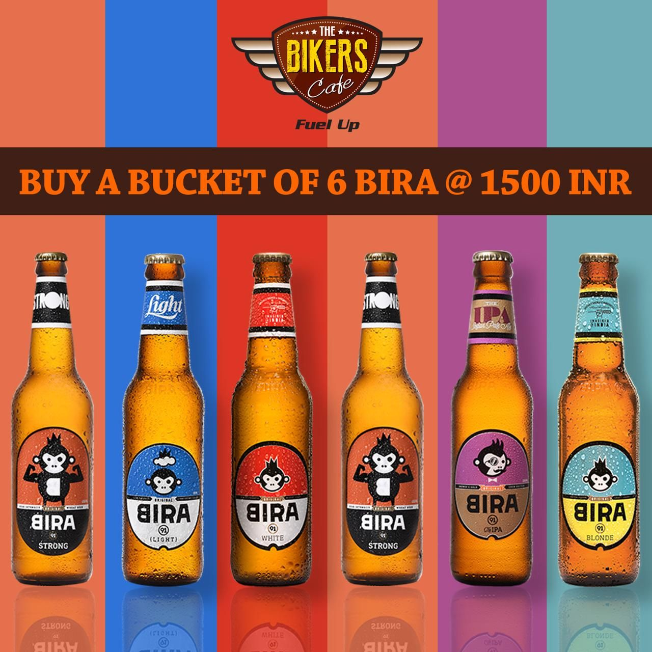 Ride In To Good Times With The Bikers Cafe Get A Bucket Of 6 Bira At 1500 Inr Only Call Us 9674565455 Or Visit Us At Www Thebikerscafe Co In Beer Games Beer Food