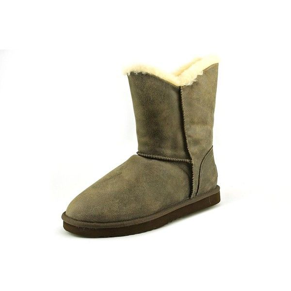 Koolaburra Double Halo Short Women Winter Boots ($86) ❤ liked on Polyvore featuring shoes, boots, ankle booties, grey, grey boots, leather boots, ankle boots, leather ankle boots and leather booties