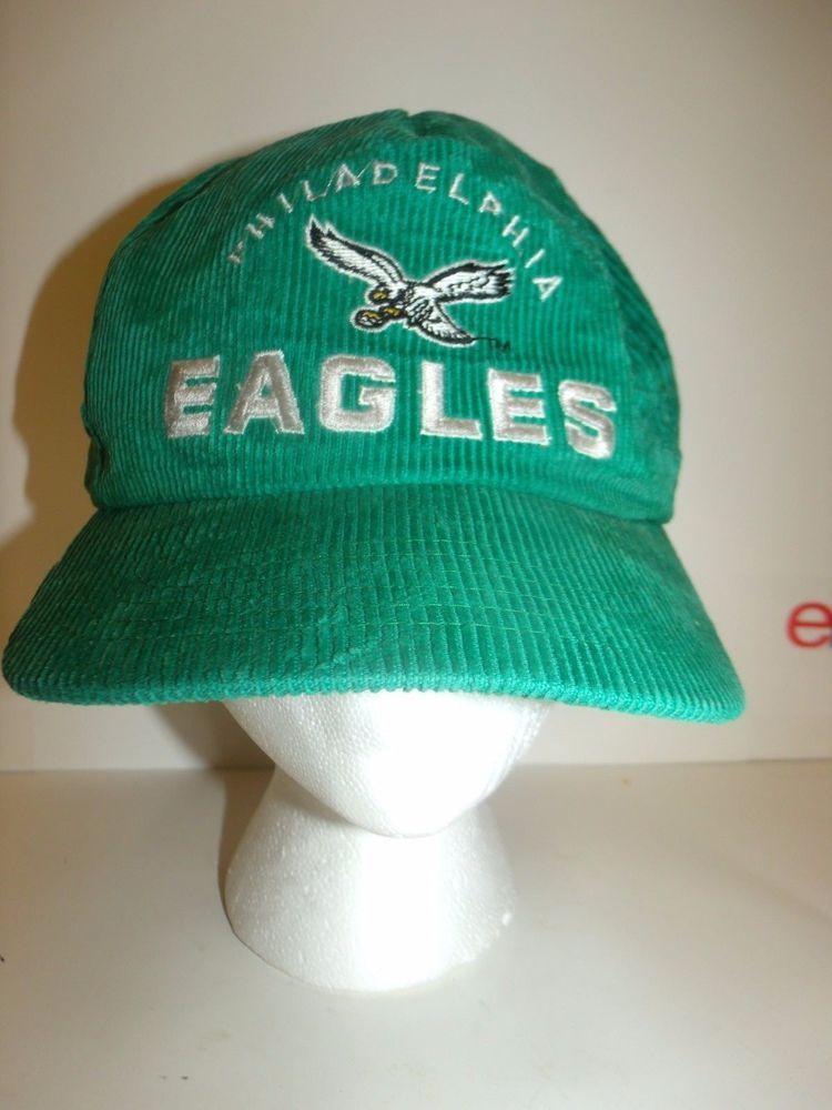 50d4df79 Vintage Philadelphia EAGLES Corduroy Hat Cap Snapback Kelly Green ...