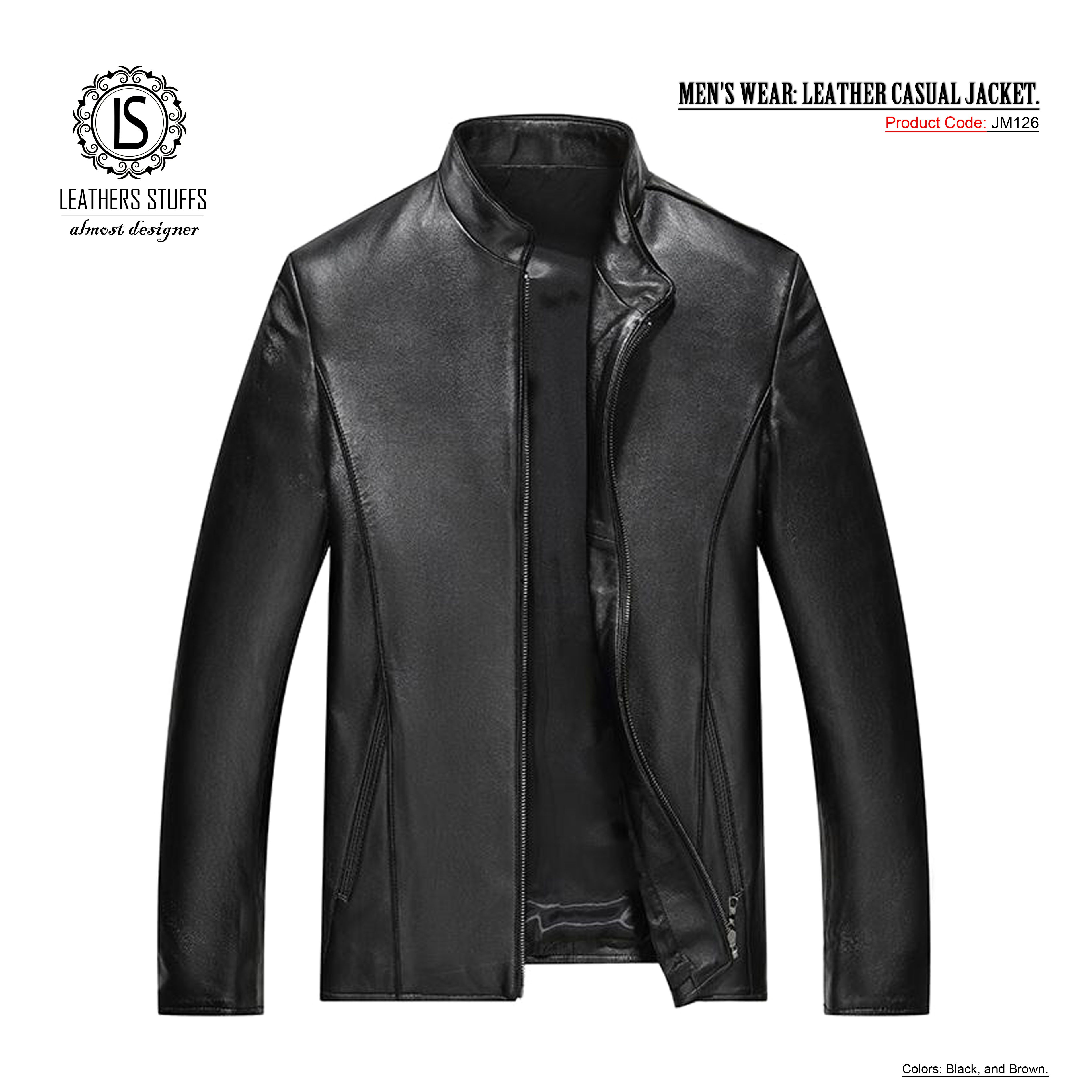 a0f05a25d MEN'S WEAR: LEATHER CASUAL JACKET. Colors: Black and Brown. Size: XS ...