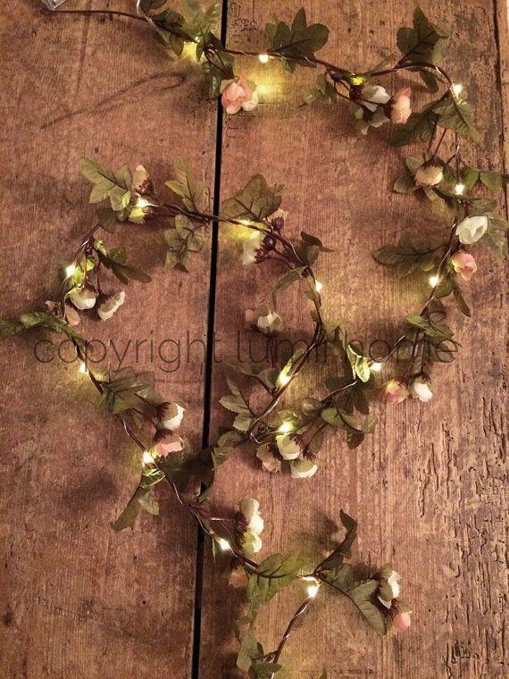 String light Pink and cream rose leaf garland Led fairy lights