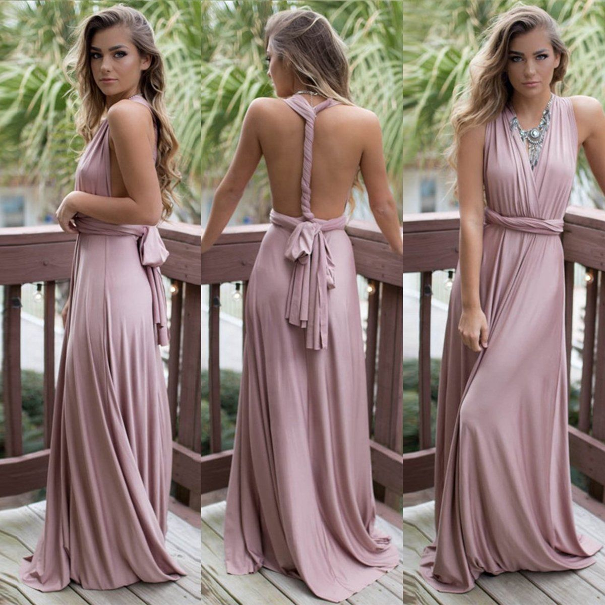2017 Formal Wedding Bridesmaid Long Evening Party Ball Prom Gown