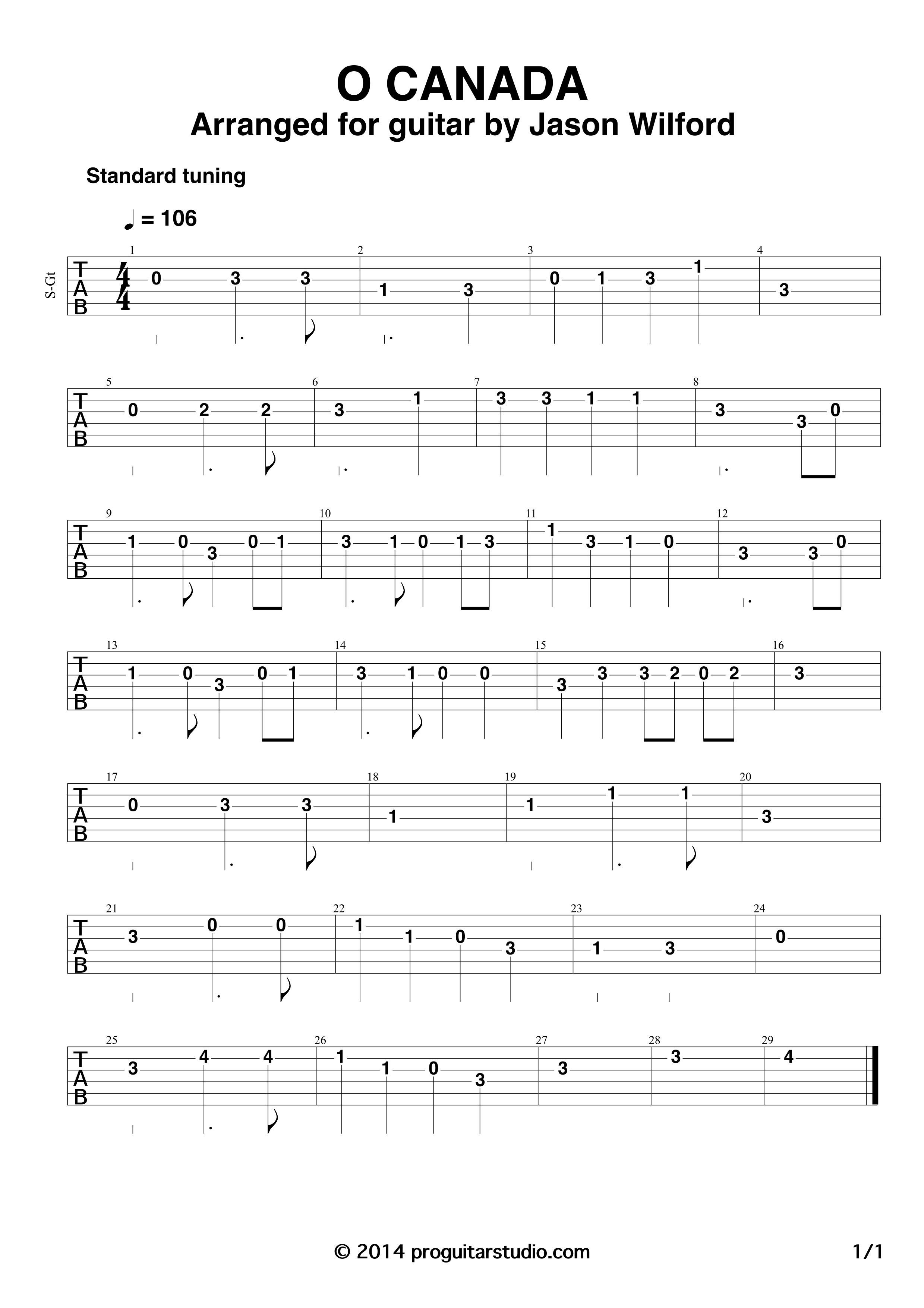 O Canada Tablature Google Search With Images Tablature
