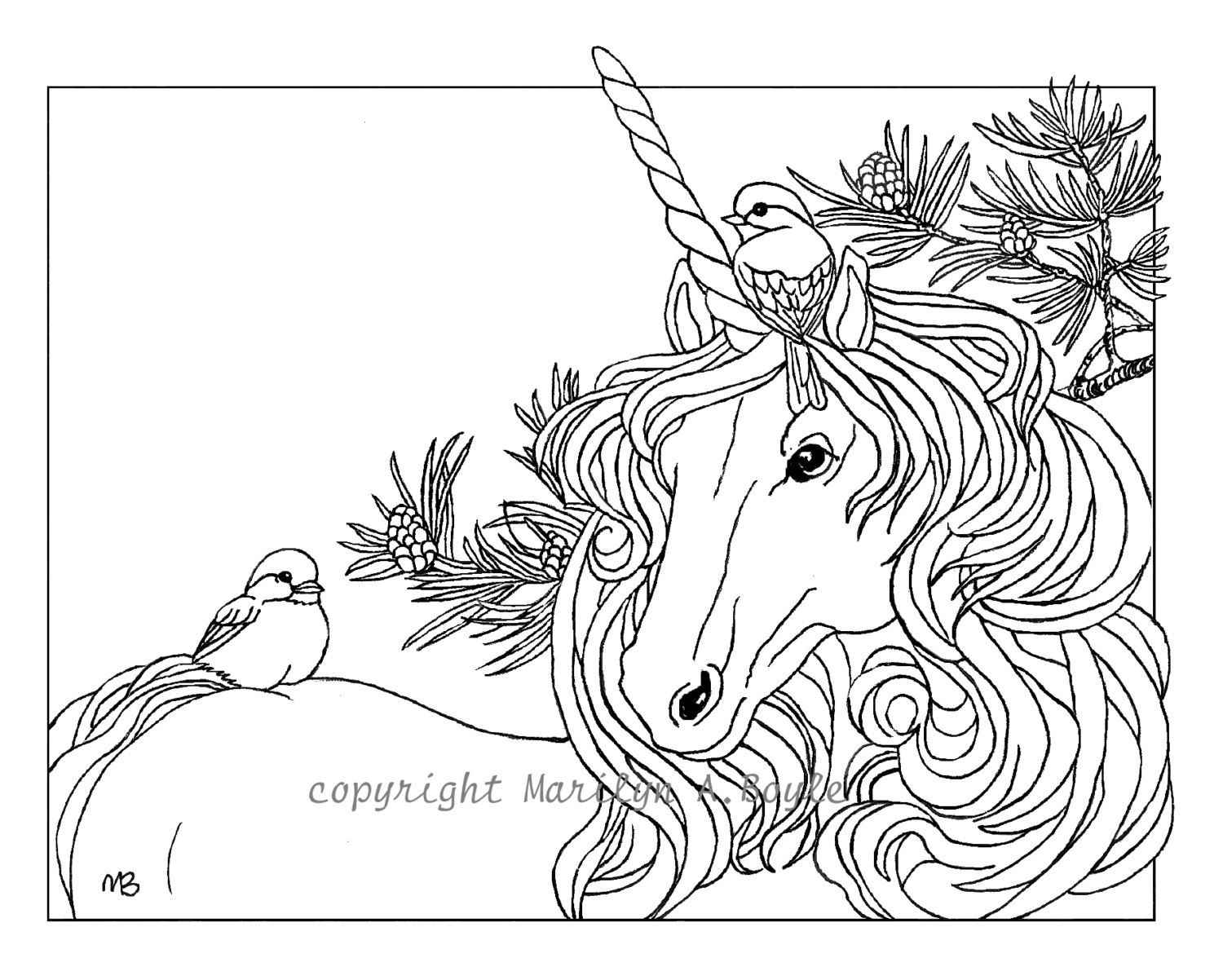 adult coloring page unicorn and chickadees christmas theme pine branches fantasy