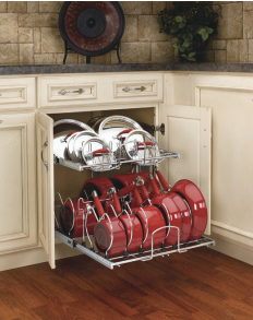 Two Tier Chrome Cookware Organizer For A 24 Base Cabinet With