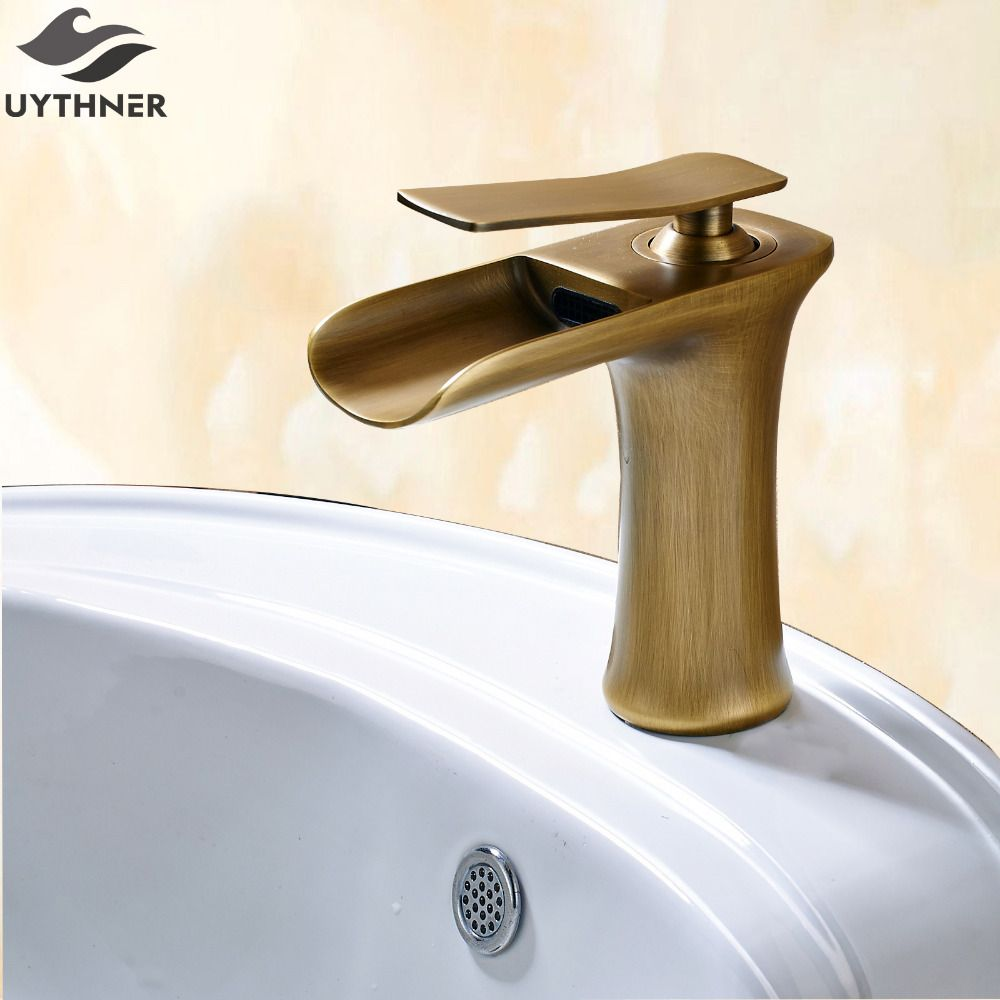 Uythner Arc Wide Mouth Waterfall Basin Faucet With Cold Hot Water Antique Br Finish