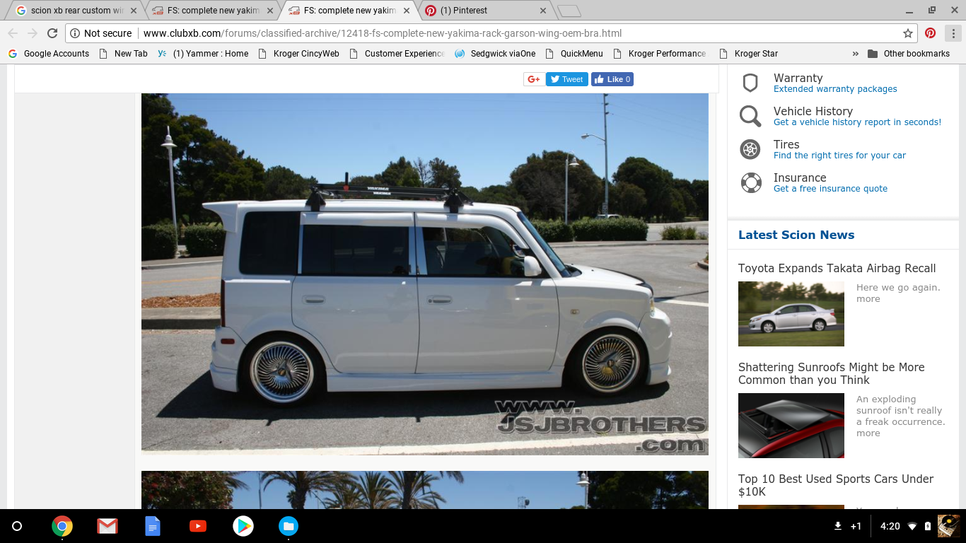 2005 Scion Xb Wing Roof Rack Combo Con Imagenes