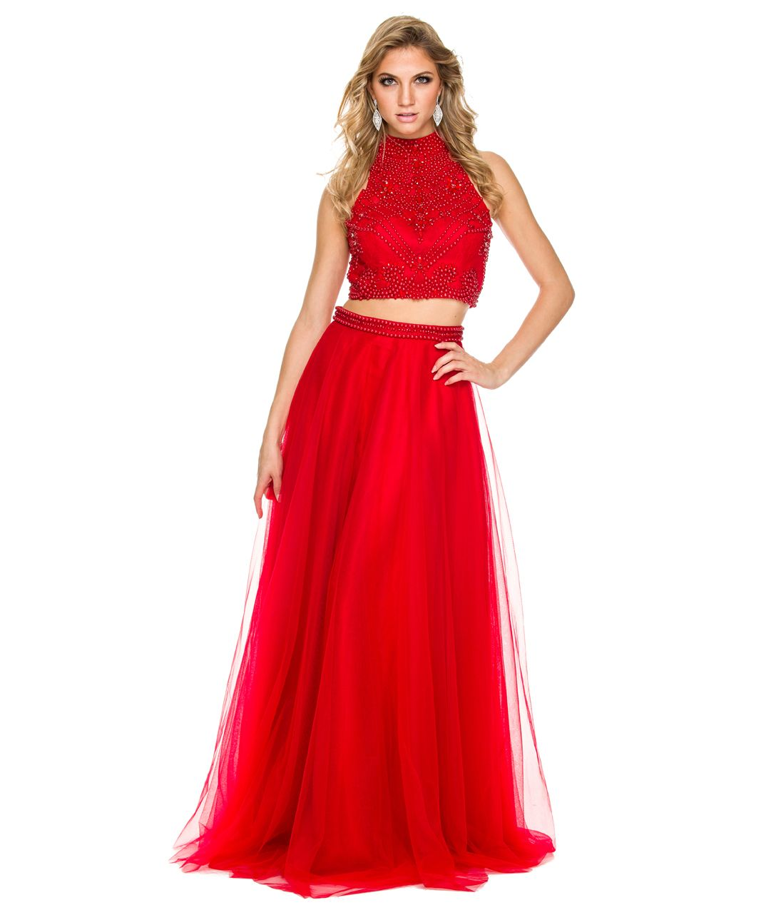 Ravishing in red this long two piece dress has a beaded halter crop