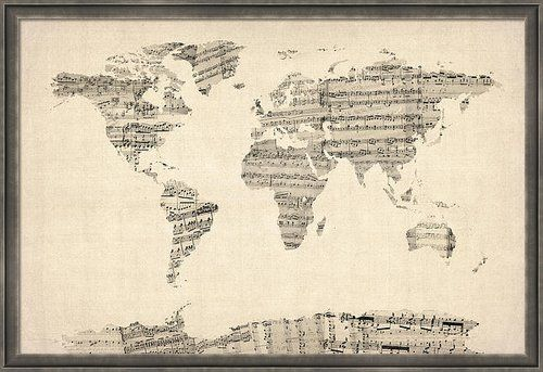 Map of the world map from old sheet music poster by michael tompsett map of the world map from old sheet music poster by michael tompsett gumiabroncs Gallery