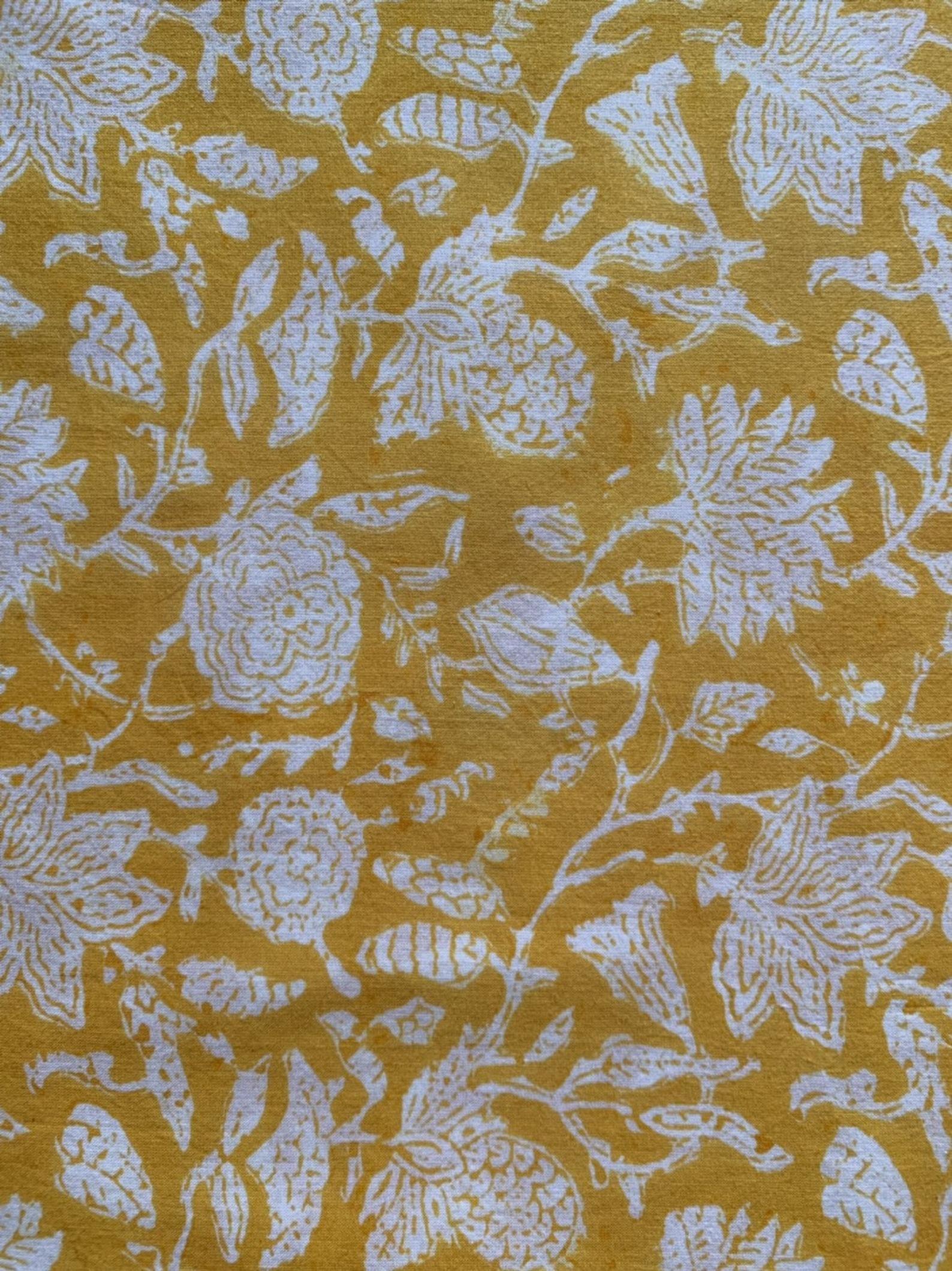Floral Print Cotton Fabric Block Print Fabric Modern Floral Fabric