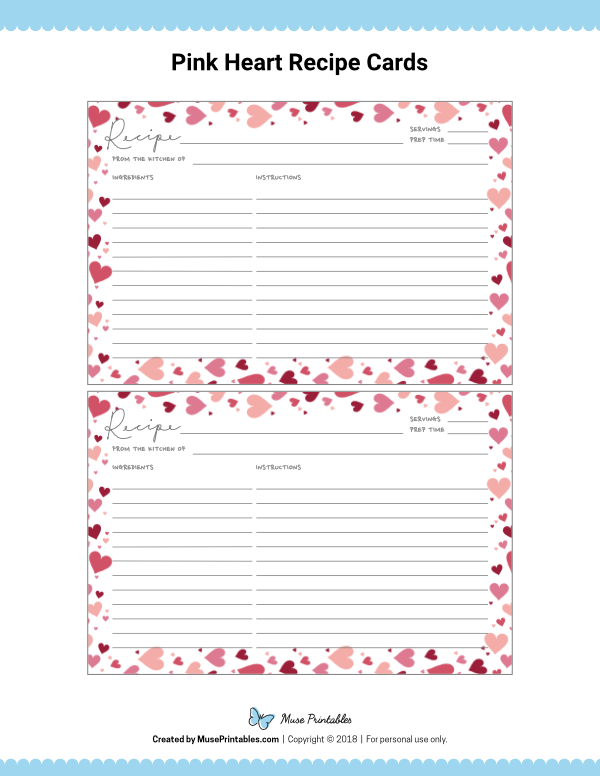 Free Printable Pink Heart Recipe Cards The Cards Are Editable In Adobe Reader Download Them At Recipe Cards Recipe Cards Template Recipe Cards Printable Free