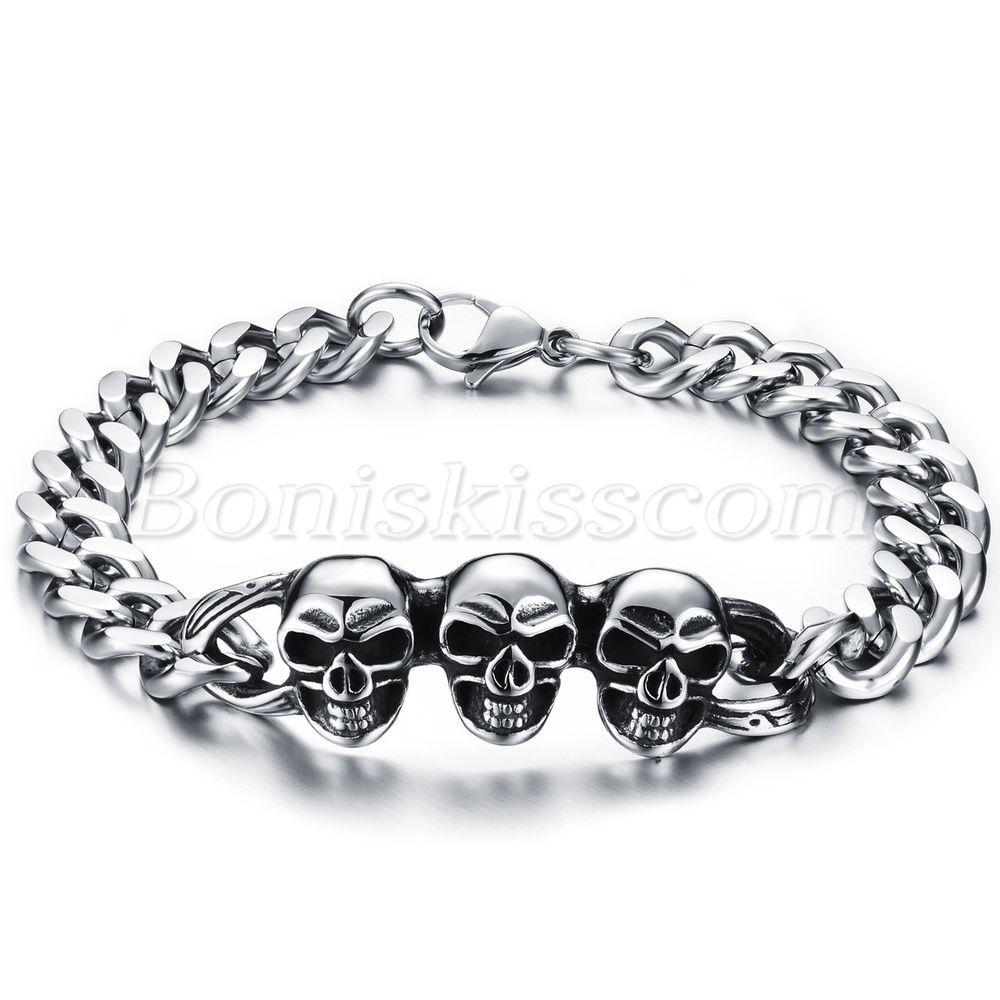Gothic RetroStainless Steel Skulls Bracelet Chain Wrist Link Men Halloween Gift #Unbranded #Chain