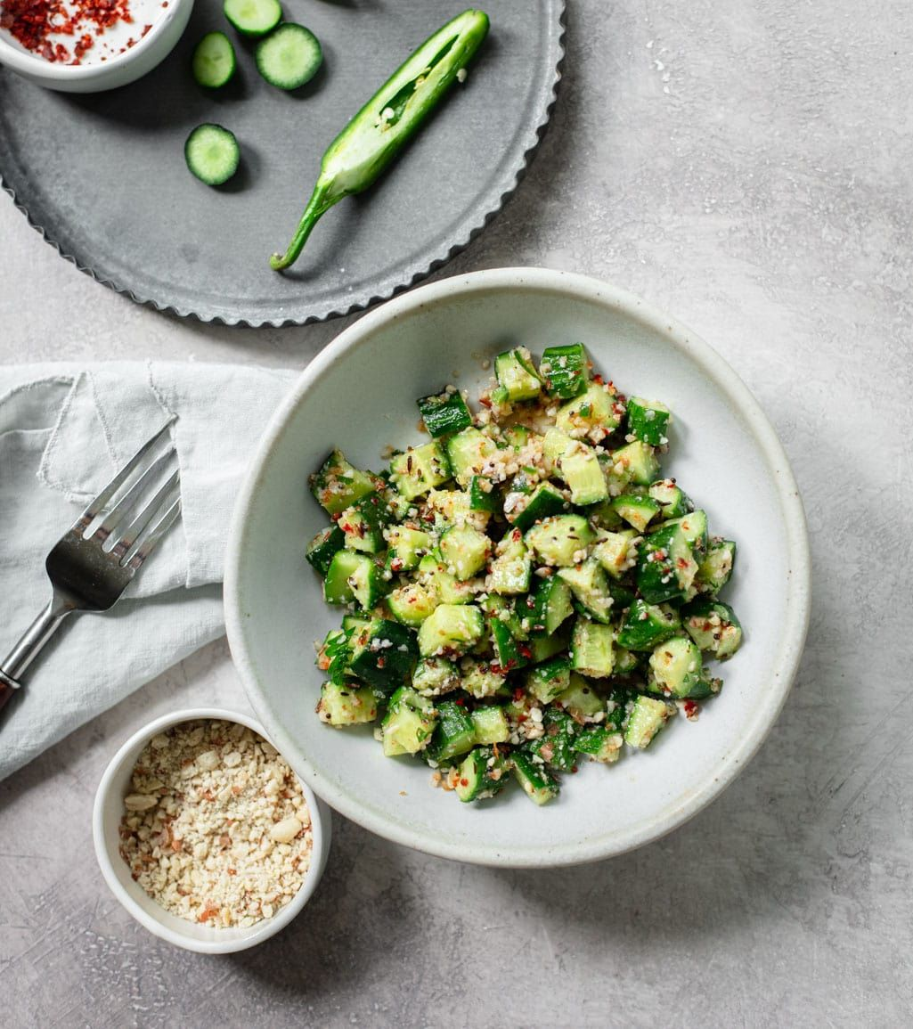 Spicy Indian Cucumber Salad In