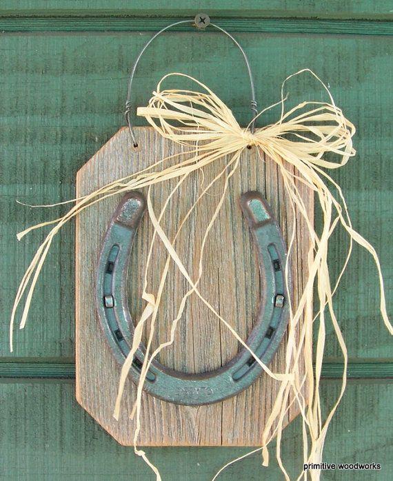 Lucky Horseshoe On Reclaimed Wood, Horseshoe Plaque