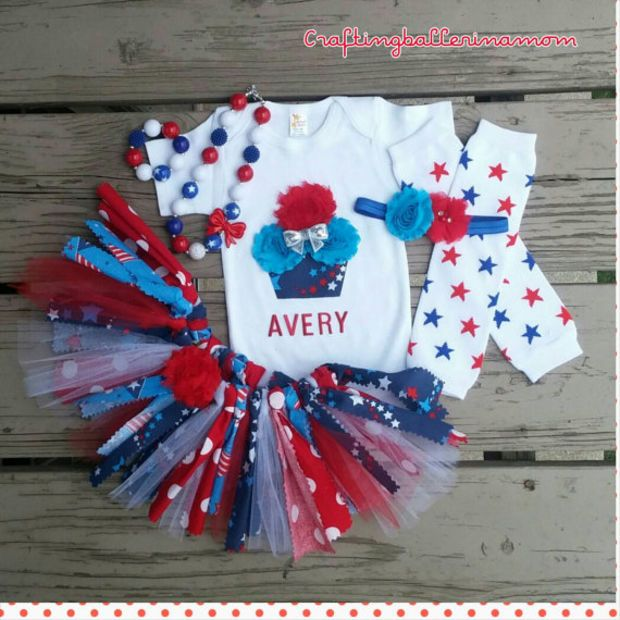 Fourth Of July Cupcake Stars Baby Girl Outfit - My First 4th of July -  Memorial - Fourth Of July Cupcake Stars Baby Girl Outfit - My First 4th Of