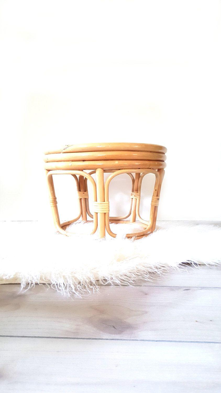 Vintage BAMBOO Footstool / Side Table/ Plant Stand ~ Rattan Mid Century  Boho Decor ~